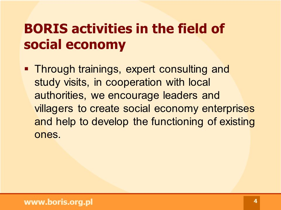www.boris.org.pl 4 BORIS activities in the field of social economy Through trainings, expert consulting and study visits, in cooperation with local authorities, we encourage leaders and villagers to create social economy enterprises and help to develop the functioning of existing ones.