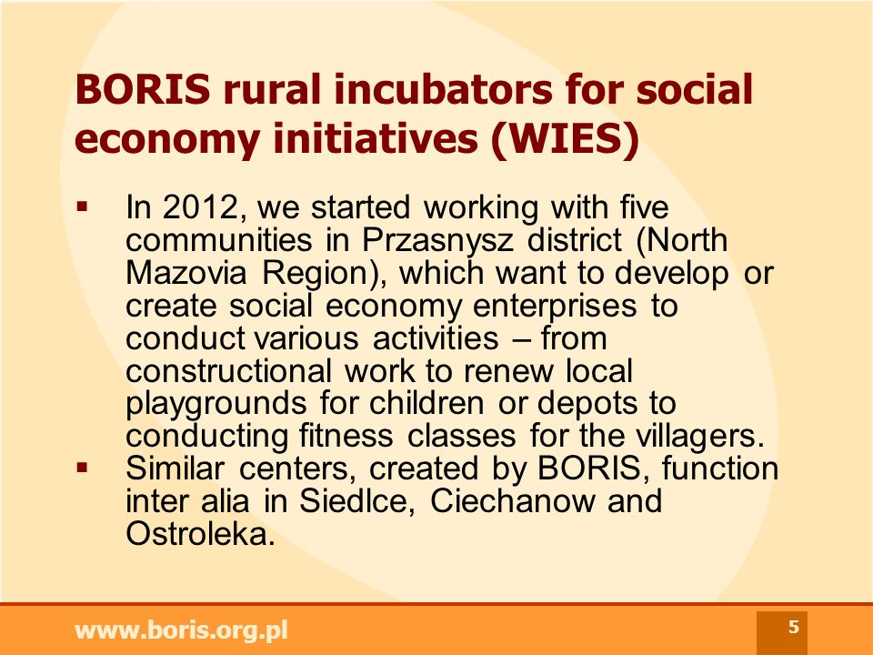 www.boris.org.pl 5 BORIS rural incubators for social economy initiatives (WIES) In 2012, we started working with five communities in Przasnysz district (North Mazovia Region), which want to develop or create social economy enterprises to conduct various activities – from constructional work to renew local playgrounds for children or depots to conducting fitness classes for the villagers.