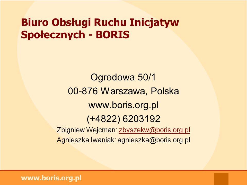 www.boris.org.pl Biuro Obsługi Ruchu Inicjatyw Społecznych - BORIS Ogrodowa 50/1 00-876 Warszawa, Polska www.boris.org.pl (+4822) 6203192 Zbigniew Wejcman: zbyszekw@boris.org.plzbyszekw@boris.org.pl Agnieszka Iwaniak: agnieszka@boris.org.pl