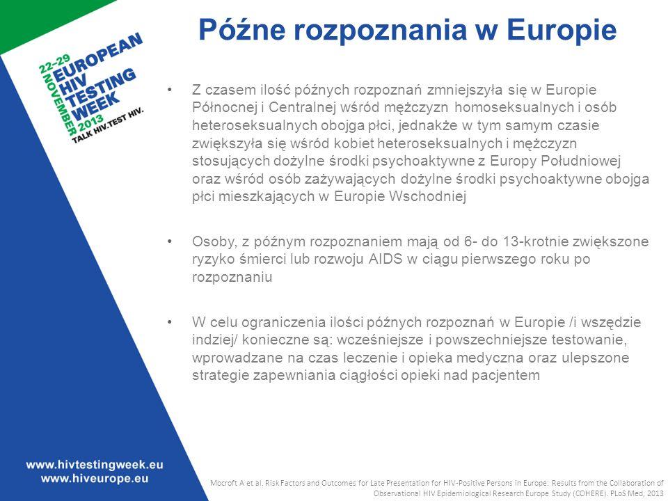 Z czasem ilość późnych rozpoznań zmniejszyła się w Europie Północnej i Centralnej wśród mężczyzn homoseksualnych i osób heteroseksualnych obojga płci, jednakże w tym samym czasie zwiększyła się wśród kobiet heteroseksualnych i mężczyzn stosujących dożylne środki psychoaktywne z Europy Południowej oraz wśród osób zażywających dożylne środki psychoaktywne obojga płci mieszkających w Europie Wschodniej Osoby, z późnym rozpoznaniem mają od 6- do 13-krotnie zwiększone ryzyko śmierci lub rozwoju AIDS w ciągu pierwszego roku po rozpoznaniu W celu ograniczenia ilości późnych rozpoznań w Europie /i wszędzie indziej/ konieczne są: wcześniejsze i powszechniejsze testowanie, wprowadzane na czas leczenie i opieka medyczna oraz ulepszone strategie zapewniania ciągłości opieki nad pacjentem Mocroft A et al.