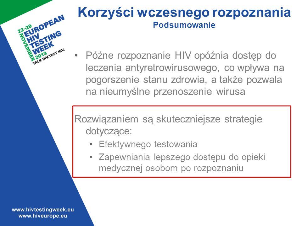 Późne rozpoznanie HIV opóźnia dostęp do leczenia antyretrowirusowego, co wpływa na pogorszenie stanu zdrowia, a także pozwala na nieumyślne przenoszenie wirusa Rozwiązaniem są skuteczniejsze strategie dotyczące: Efektywnego testowania Zapewniania lepszego dostępu do opieki medycznej osobom po rozpoznaniu Korzyści wczesnego rozpoznania Podsumowanie