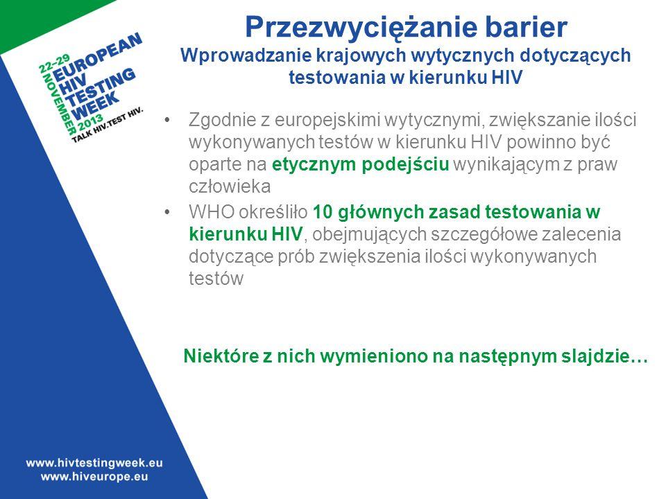 Przezwyciężanie barier Wprowadzanie krajowych wytycznych dotyczących testowania w kierunku HIV Zgodnie z europejskimi wytycznymi, zwiększanie ilości wykonywanych testów w kierunku HIV powinno być oparte na etycznym podejściu wynikającym z praw człowieka WHO określiło 10 głównych zasad testowania w kierunku HIV, obejmujących szczegółowe zalecenia dotyczące prób zwiększenia ilości wykonywanych testów Niektóre z nich wymieniono na następnym slajdzie…