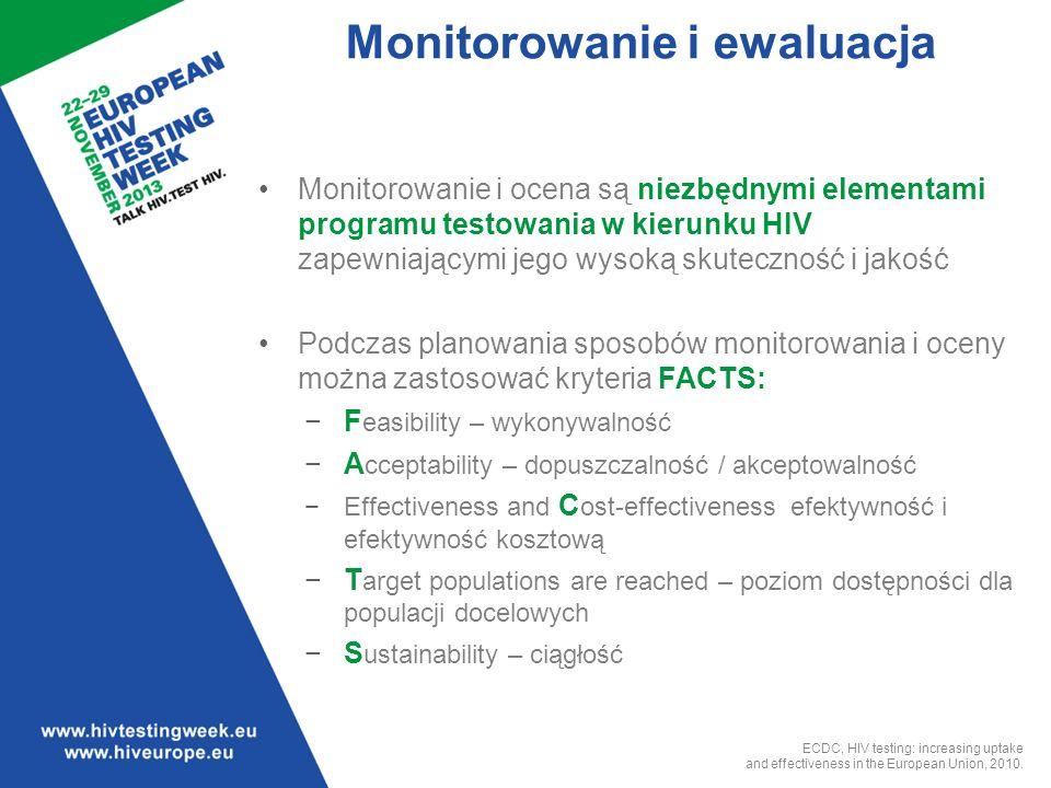 Monitorowanie i ewaluacja Monitorowanie i ocena są niezbędnymi elementami programu testowania w kierunku HIV zapewniającymi jego wysoką skuteczność i jakość Podczas planowania sposobów monitorowania i oceny można zastosować kryteria FACTS: F easibility – wykonywalność A cceptability – dopuszczalność / akceptowalność Effectiveness and C ost-effectiveness efektywność i efektywność kosztową T arget populations are reached – poziom dostępności dla populacji docelowych S ustainability – ciągłość ECDC, HIV testing: increasing uptake and effectiveness in the European Union, 2010.