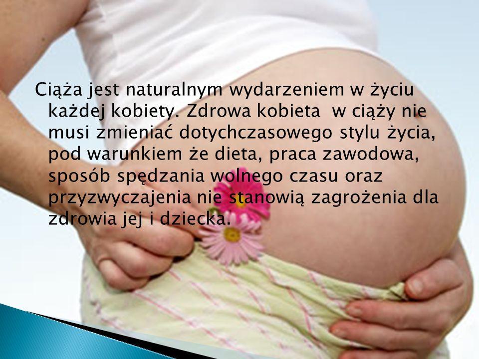 Ciąża jest naturalnym wydarzeniem w życiu każdej kobiety. Zdrowa kobieta w ciąży nie musi zmieniać dotychczasowego stylu życia, pod warunkiem że dieta