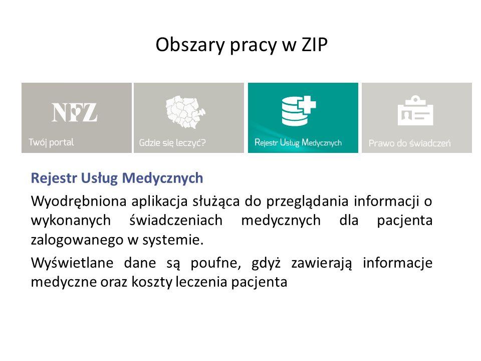 Obszary pracy w ZIP Rejestr Usług Medycznych Wyodrębniona aplikacja służąca do przeglądania informacji o wykonanych świadczeniach medycznych dla pacje