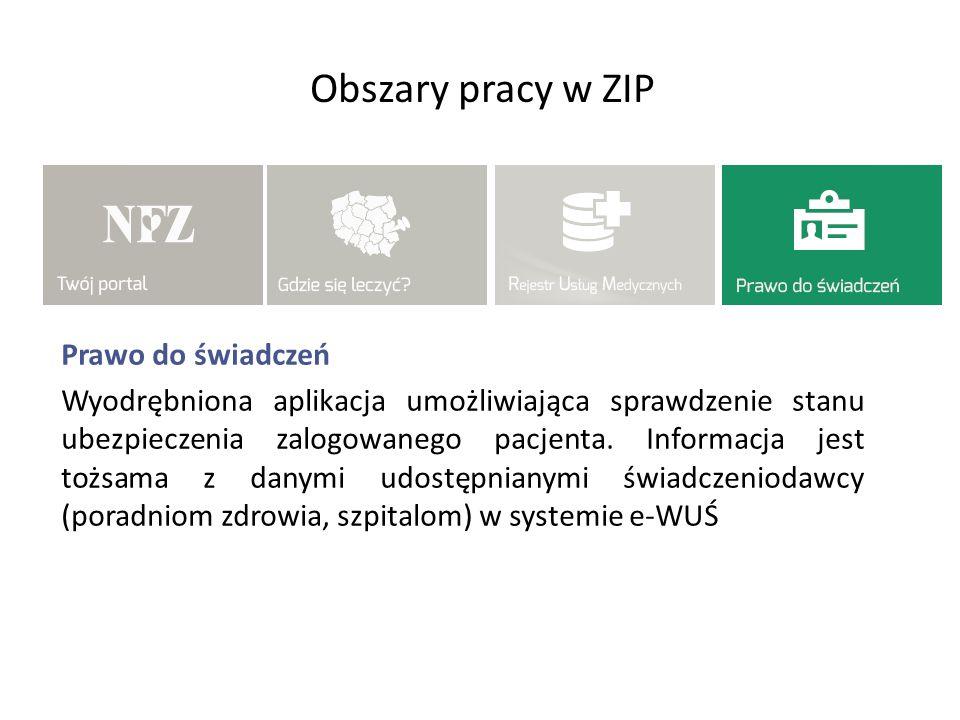 Obszary pracy w ZIP Prawo do świadczeń Wyodrębniona aplikacja umożliwiająca sprawdzenie stanu ubezpieczenia zalogowanego pacjenta. Informacja jest toż