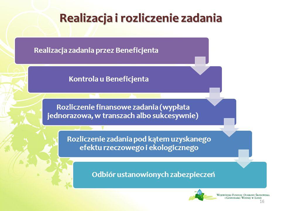 Realizacja i rozliczenie zadania Realizacja zadania przez BeneficjentaKontrola u Beneficjenta Rozliczenie finansowe zadania (wypłata jednorazowa, w tr