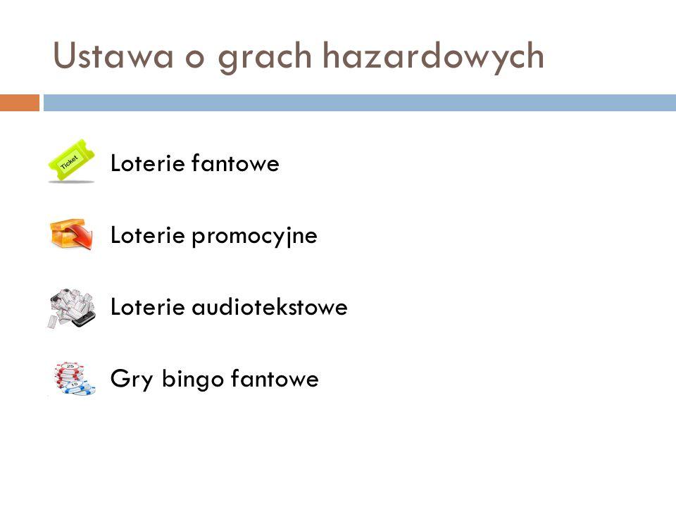 Ustawa o grach hazardowych Loterie fantowe Loterie promocyjne Loterie audiotekstowe Gry bingo fantowe