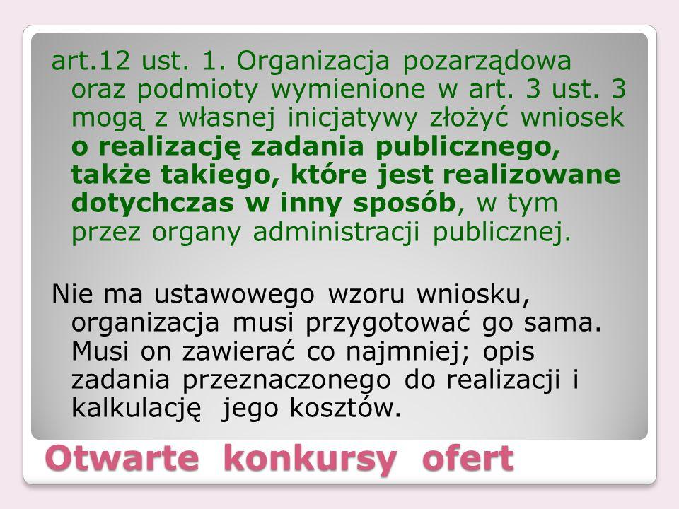 Otwarte konkursy ofert art.12 ust. 1. Organizacja pozarządowa oraz podmioty wymienione w art. 3 ust. 3 mogą z własnej inicjatywy złożyć wniosek o real