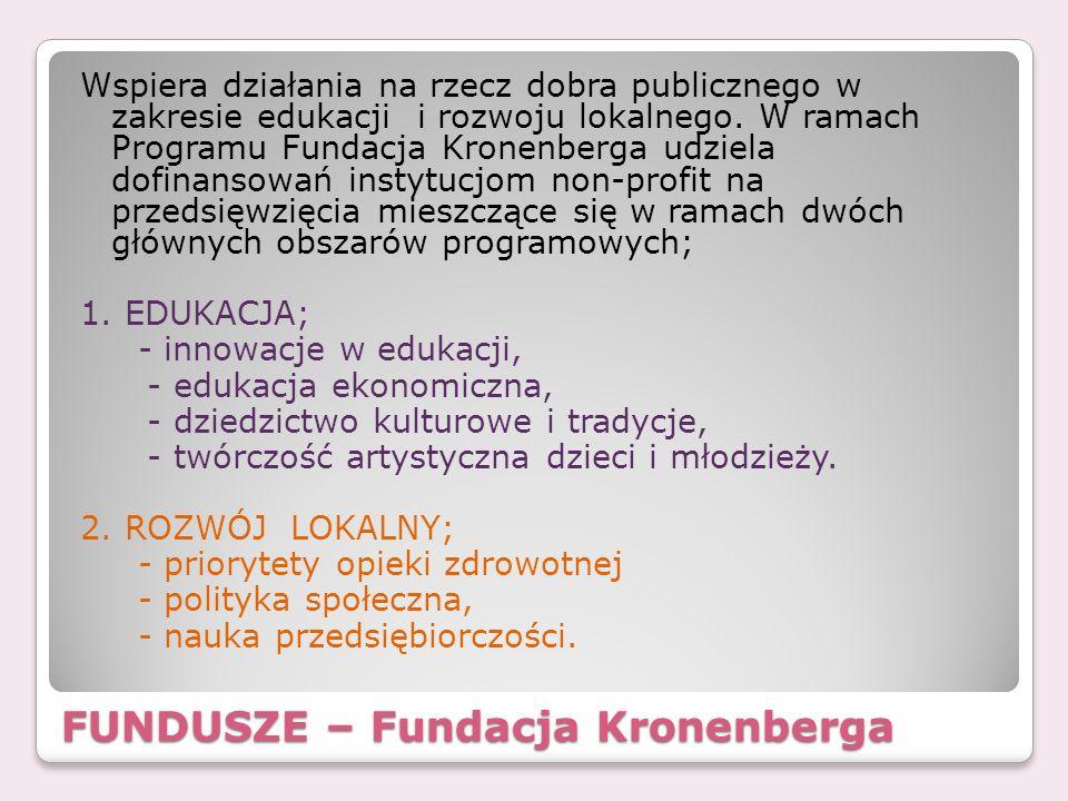 FUNDUSZE – Fundacja Kronenberga Wspiera działania na rzecz dobra publicznego w zakresie edukacji i rozwoju lokalnego. W ramach Programu Fundacja Krone