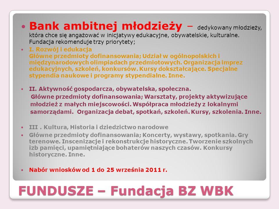 FUNDUSZE – Fundacja BZ WBK Bank ambitnej młodzieży – dedykowany młodzieży, która chce się angażować w inicjatywy edukacyjne, obywatelskie, kulturalne.