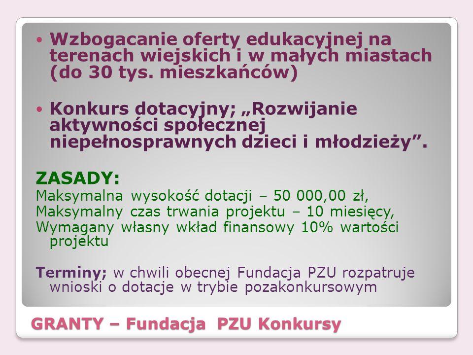 GRANTY – Fundacja PZU Konkursy Wzbogacanie oferty edukacyjnej na terenach wiejskich i w małych miastach (do 30 tys. mieszkańców) Konkurs dotacyjny; Ro