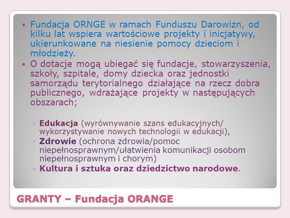 GRANTY – Fundacja ORANGE Fundacja ORNGE w ramach Funduszu Darowizn, od kilku lat wspiera wartościowe projekty i inicjatywy, ukierunkowane na niesienie