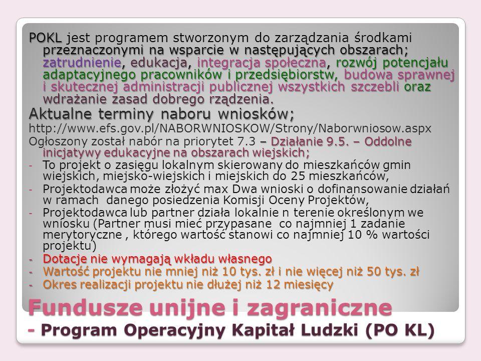 Fundusze unijne i zagraniczne - Program Operacyjny Kapitał Ludzki (PO KL) POKL przeznaczonymi na wsparcie w następujących obszarach; zatrudnienie, edu