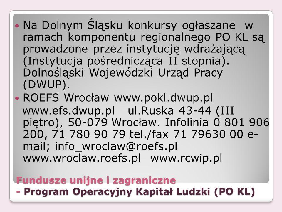 Fundusze unijne i zagraniczne - Program Operacyjny Kapitał Ludzki (PO KL) Na Dolnym Śląsku konkursy ogłaszane w ramach komponentu regionalnego PO KL s
