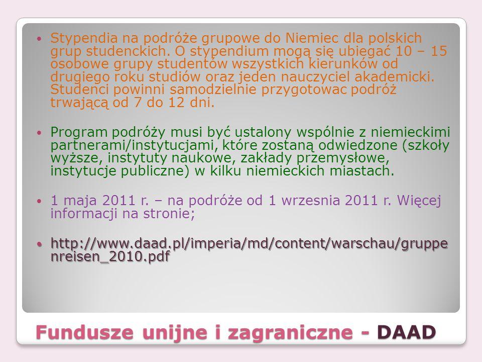Fundusze unijne i zagraniczne - DAAD Stypendia na podróże grupowe do Niemiec dla polskich grup studenckich. O stypendium mogą się ubiegać 10 – 15 osob