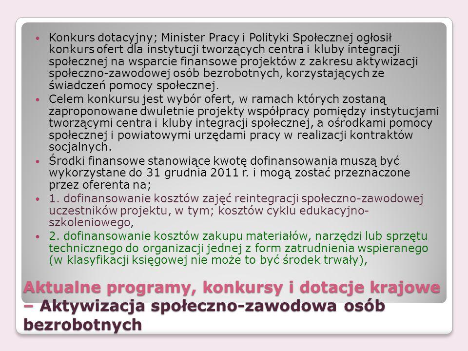 Aktualne programy, konkursy i dotacje krajowe – Aktywizacja społeczno-zawodowa osób bezrobotnych Konkurs dotacyjny; Minister Pracy i Polityki Społeczn