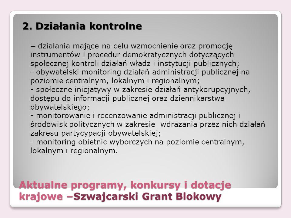 Aktualne programy, konkursy i dotacje krajowe –Szwajcarski Grant Blokowy 2. Działania kontrolne – – działania mające na celu wzmocnienie oraz promocję