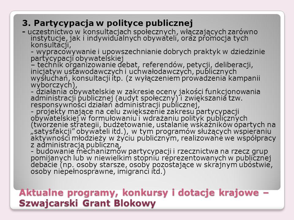 Aktualne programy, konkursy i dotacje krajowe – Szwajcarski Grant Blokowy 3. Partycypacja w polityce publicznej - uczestnictwo w konsultacjach społecz