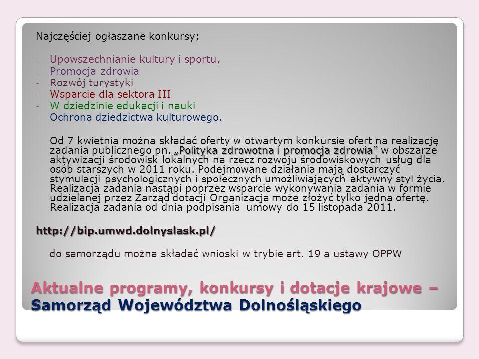 Aktualne programy, konkursy i dotacje krajowe – Samorząd Województwa Dolnośląskiego Najczęściej ogłaszane konkursy; - Upowszechnianie kultury i sportu