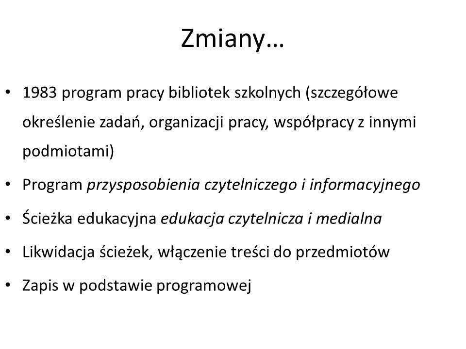 Zmiany… 1983 program pracy bibliotek szkolnych (szczegółowe określenie zadań, organizacji pracy, współpracy z innymi podmiotami) Program przysposobien