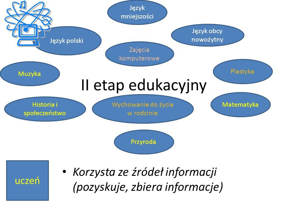 Muzyka II etap edukacyjny Korzysta ze źródeł informacji (pozyskuje, zbiera informacje) Język polski Język obcy nowożytny Matematyka Zajęcia komputerow