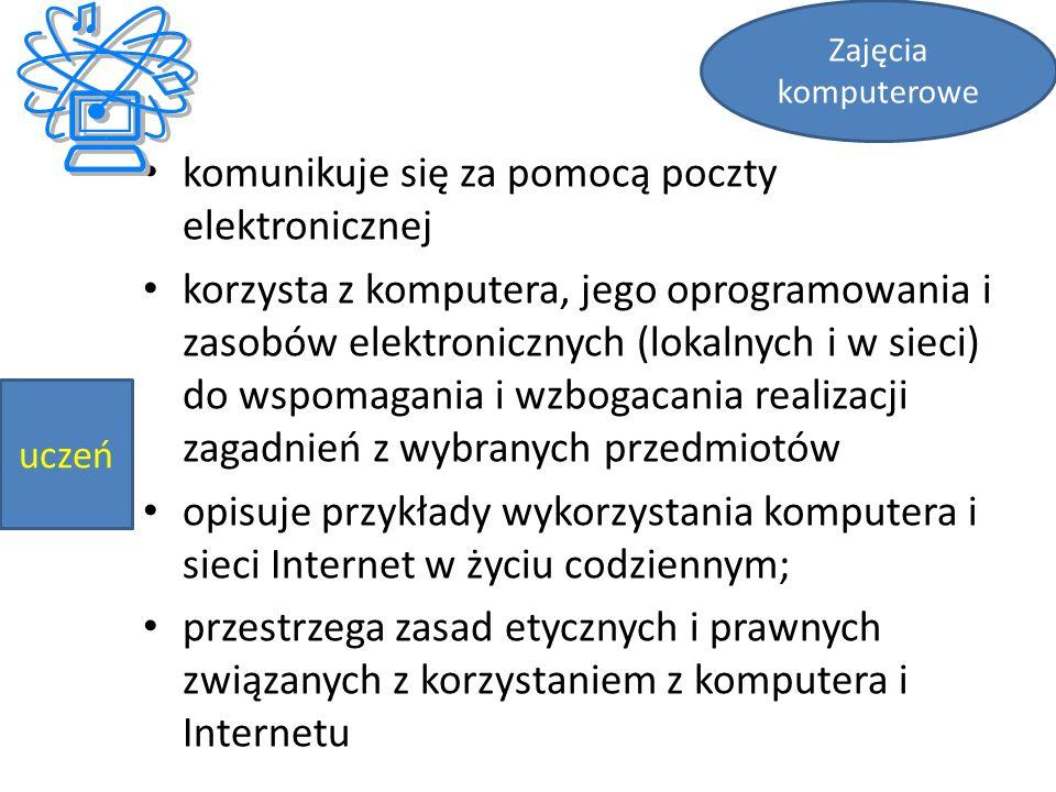 komunikuje się za pomocą poczty elektronicznej korzysta z komputera, jego oprogramowania i zasobów elektronicznych (lokalnych i w sieci) do wspomagani