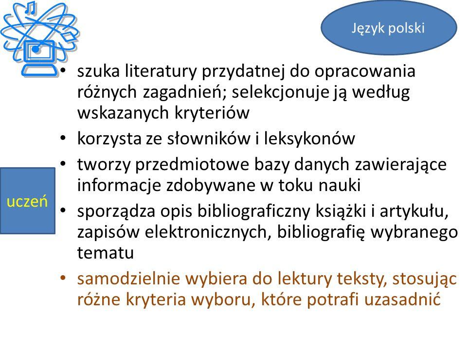 szuka literatury przydatnej do opracowania różnych zagadnień; selekcjonuje ją według wskazanych kryteriów korzysta ze słowników i leksykonów tworzy przedmiotowe bazy danych zawierające informacje zdobywane w toku nauki sporządza opis bibliograficzny książki i artykułu, zapisów elektronicznych, bibliografię wybranego tematu samodzielnie wybiera do lektury teksty, stosując różne kryteria wyboru, które potrafi uzasadnić Język polski uczeń