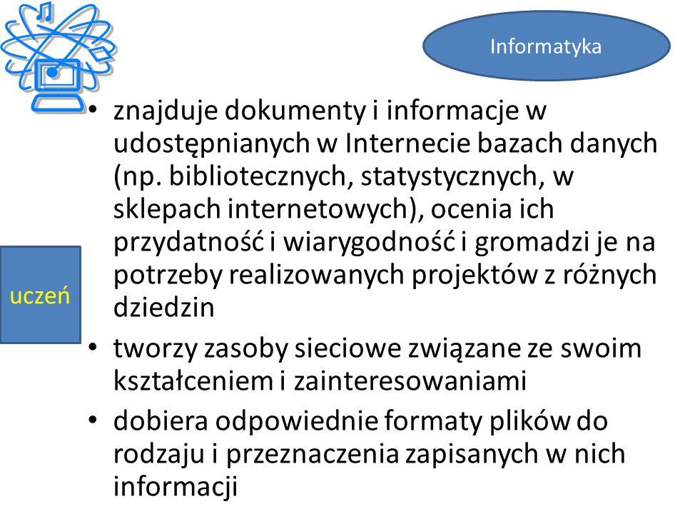 znajduje dokumenty i informacje w udostępnianych w Internecie bazach danych (np.