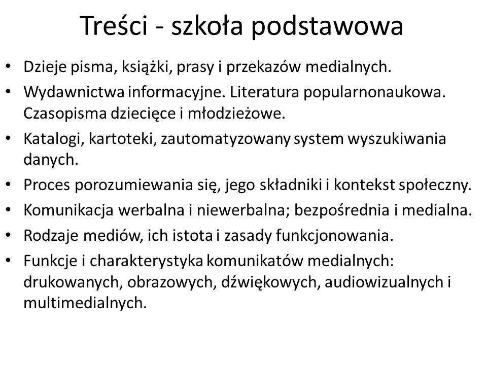 Treści - szkoła podstawowa Podstawowe elementy języka poszczególnych rodzajów mediów.