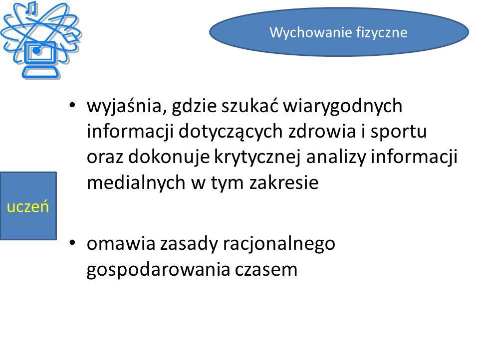 wyjaśnia, gdzie szukać wiarygodnych informacji dotyczących zdrowia i sportu oraz dokonuje krytycznej analizy informacji medialnych w tym zakresie omawia zasady racjonalnego gospodarowania czasem Wychowanie fizyczne uczeń