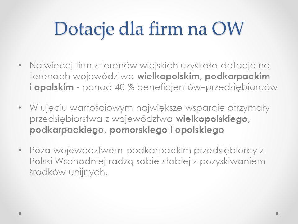 Dotacje dla firm na OW Najwięcej firm z terenów wiejskich uzyskało dotacje na terenach województwa wielkopolskim, podkarpackim i opolskim - ponad 40 %