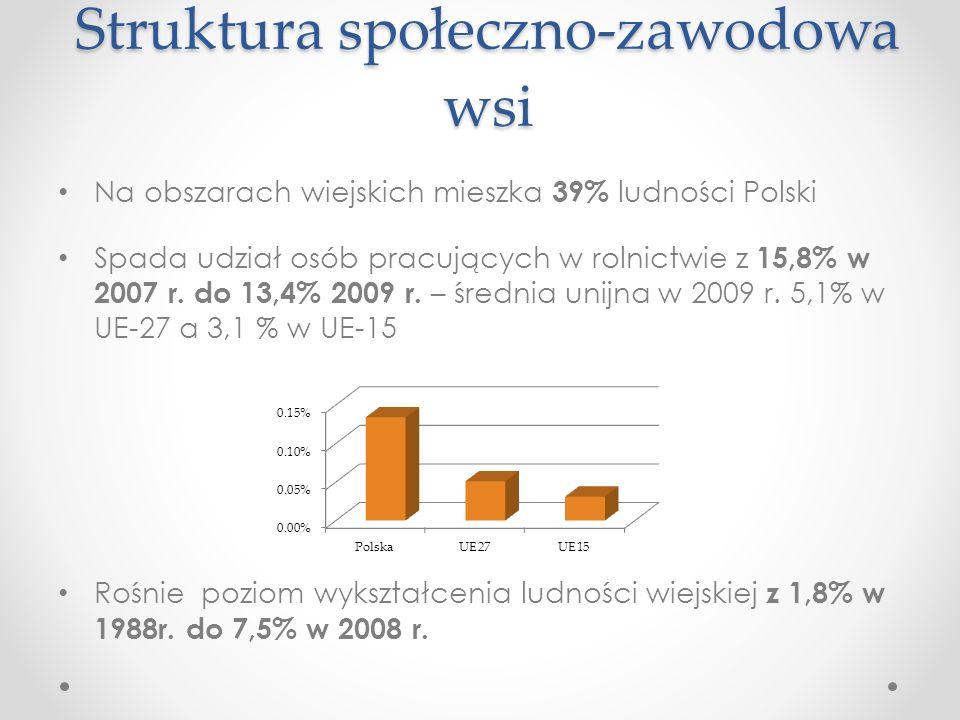Struktura społeczno-zawodowa wsi Na obszarach wiejskich mieszka 39% ludności Polski Spada udział osób pracujących w rolnictwie z 15,8% w 2007 r. do 13