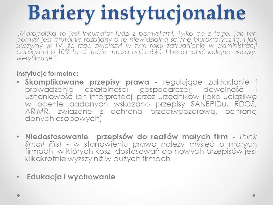Bariery instytucjonalne Małopolska to jest inkubator ludzi z pomysłami. Tylko co z tego, jak ten pomysł jest brutalnie rozbijany o tę niewidzialną ści