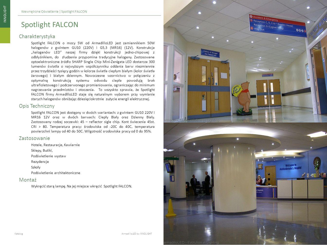 INNOLIGHT Katalog ArmadilloLED by INNOLIGHT Wewnętrzne Oświetlenie | Spotlight FALCON Charakterystyka Spotlight FALCON o mocy 5W od ArmadilloLED jest