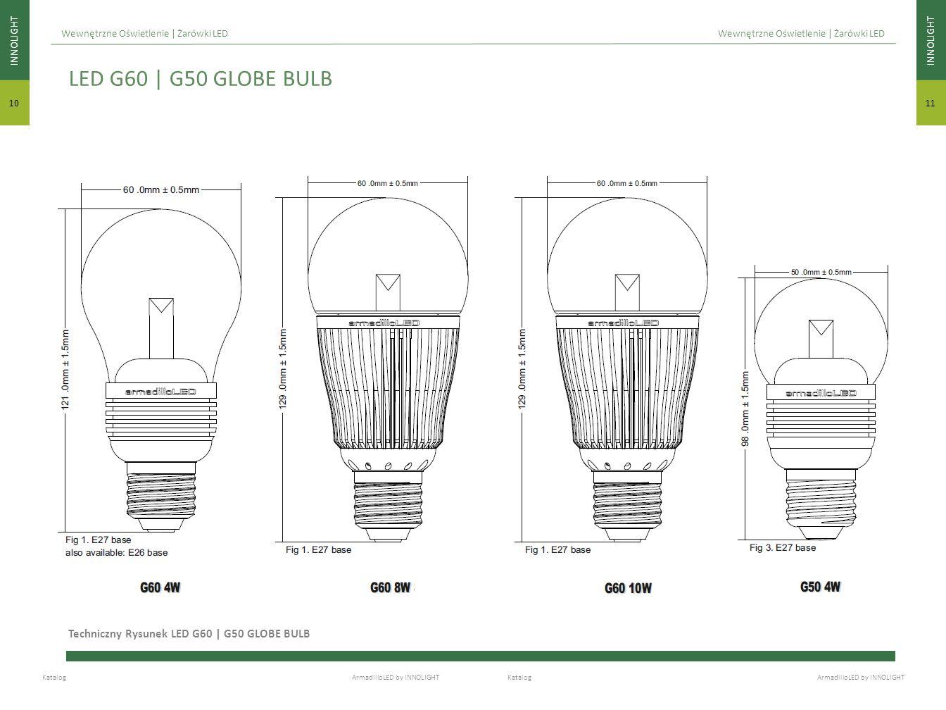 INNOLIGHT 11 INNOLIGHT 10 Katalog ArmadilloLED by INNOLIGHT Wewnętrzne Oświetlenie | Żarówki LED Techniczny Rysunek LED G60 | G50 GLOBE BULB LED G60 |