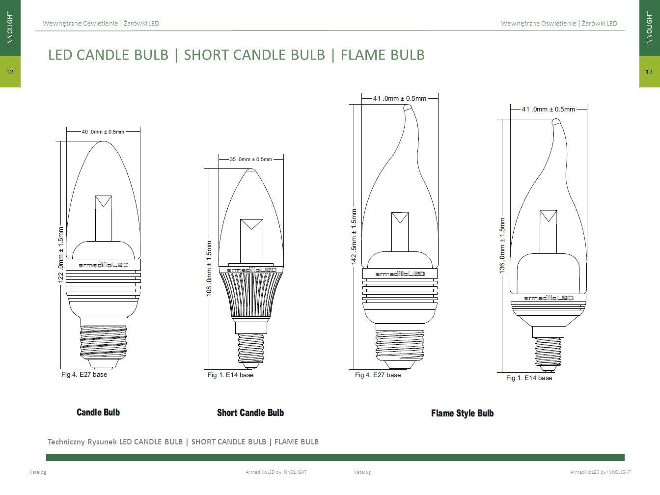 INNOLIGHT 13 INNOLIGHT 12 Katalog ArmadilloLED by INNOLIGHT Wewnętrzne Oświetlenie | Żarówki LED Techniczny Rysunek LED CANDLE BULB | SHORT CANDLE BUL