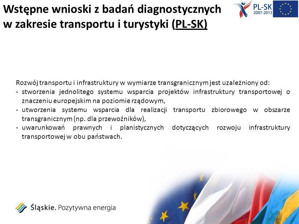 Wstępne wnioski z badań diagnostycznych w zakresie transportu i turystyki (PL-SK) Rozwój transportu i infrastruktury w wymiarze transgranicznym jest u