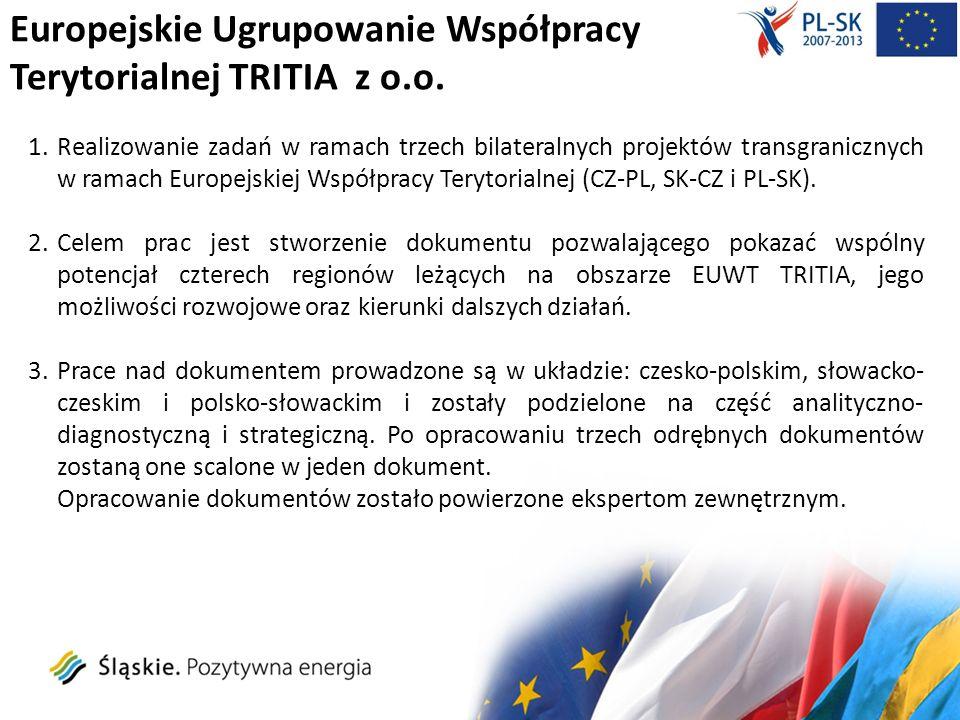 Europejskie Ugrupowanie Współpracy Terytorialnej TRITIA z o.o.: realizowane projekty Strategie systemowej współpracy instytucji publicznych Kraju Morawsko-Śląskiego, Województwa Śląskiego i Opolskiego POWT Republika Czeska - Rzeczpospolita Polska 2007-2013 Budżet projektu 346 617,46 EUR Współfinansowanie EFRR 294 624,83 EUR Współpraca i wsparcie współpracy transgranicznej samorządów regionalnych oraz podmiotów działających w Kraju Żylińskim i Morawsko-Śląskim POWT Republika Słowacka - Republika Czeska 2007-2013 Budżet projektu 101 130,00 EUR Współfinansowanie EFRR 85 960,50 EUR Innowacyjna współpraca (Innowacyjny rozwój współpracy transgranicznej instytucji Województwa Śląskiego i Samorządowego Kraju Żylińskiego) PWT Rzeczpospolita Polska - Republika Słowacka 2007-2013 Budżet projektu 270 695,11 EUR Współfinansowanie EFRR 227 115,85 EUR