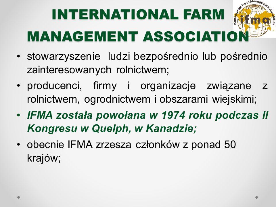 INTERNATIONAL FARM MANAGEMENT ASSOCIATION stowarzyszenie ludzi bezpośrednio lub pośrednio zainteresowanych rolnictwem; producenci, firmy i organizacje związane z rolnictwem, ogrodnictwem i obszarami wiejskimi; IFMA została powołana w 1974 roku podczas II Kongresu w Quelph, w Kanadzie; obecnie IFMA zrzesza członków z ponad 50 krajów;