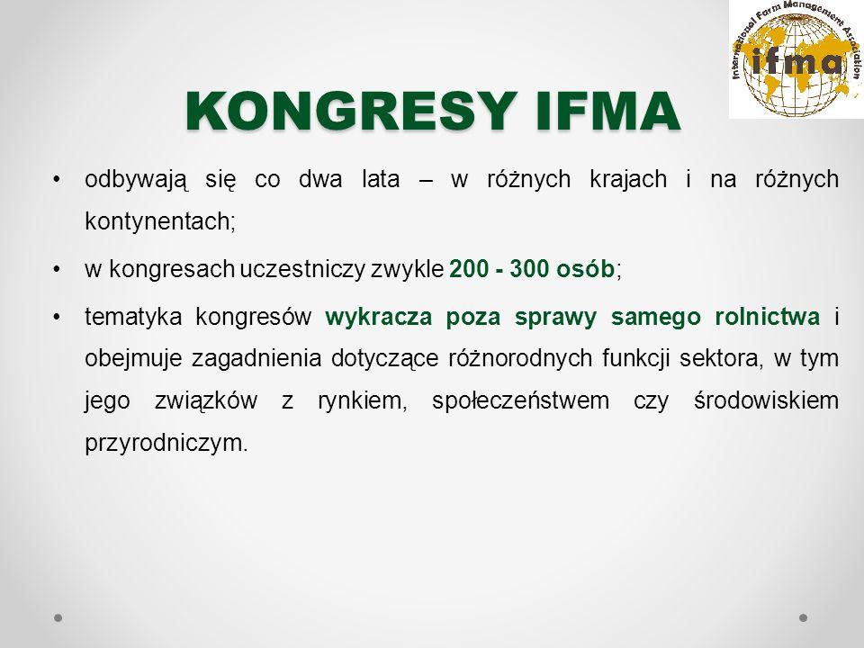 KONGRESY IFMA odbywają się co dwa lata – w różnych krajach i na różnych kontynentach; w kongresach uczestniczy zwykle 200 - 300 osób; tematyka kongresów wykracza poza sprawy samego rolnictwa i obejmuje zagadnienia dotyczące różnorodnych funkcji sektora, w tym jego związków z rynkiem, społeczeństwem czy środowiskiem przyrodniczym.