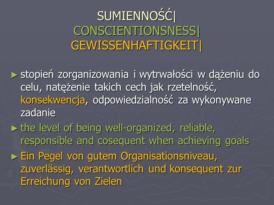 SUMIENNOŚĆ| CONSCIENTIONSNESS| GEWISSENHAFTIGKEIT| stopień zorganizowania i wytrwałości w dążeniu do celu, natężenie takich cech jak rzetelność, konse