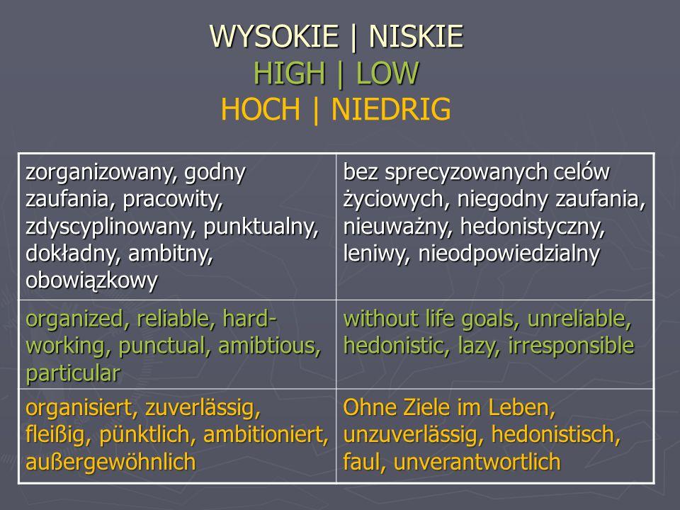 WYSOKIE | NISKIE HIGH | LOW WYSOKIE | NISKIE HIGH | LOW HOCH | NIEDRIG zorganizowany, godny zaufania, pracowity, zdyscyplinowany, punktualny, dokładny