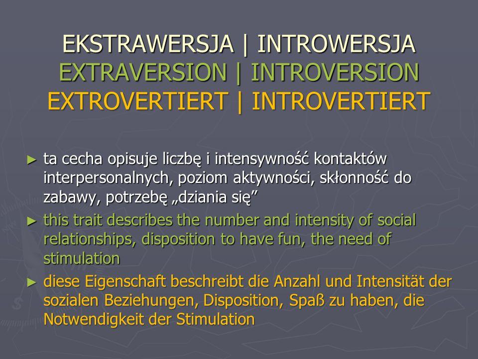 EKSTRAWERSJA | INTROWERSJA EXTRAVERSION | INTROVERSION EXTROVERTIERT | INTROVERTIERT ta cecha opisuje liczbę i intensywność kontaktów interpersonalnyc