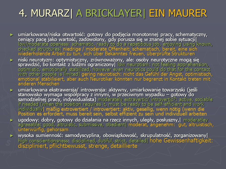 4. MURARZ| A BRICKLAYER| EIN MAURER umiarkowana/niska otwartość: gotowy do podjęcia monotonnej pracy, schematyczny, ceniący pacę jako wartość, zadowol