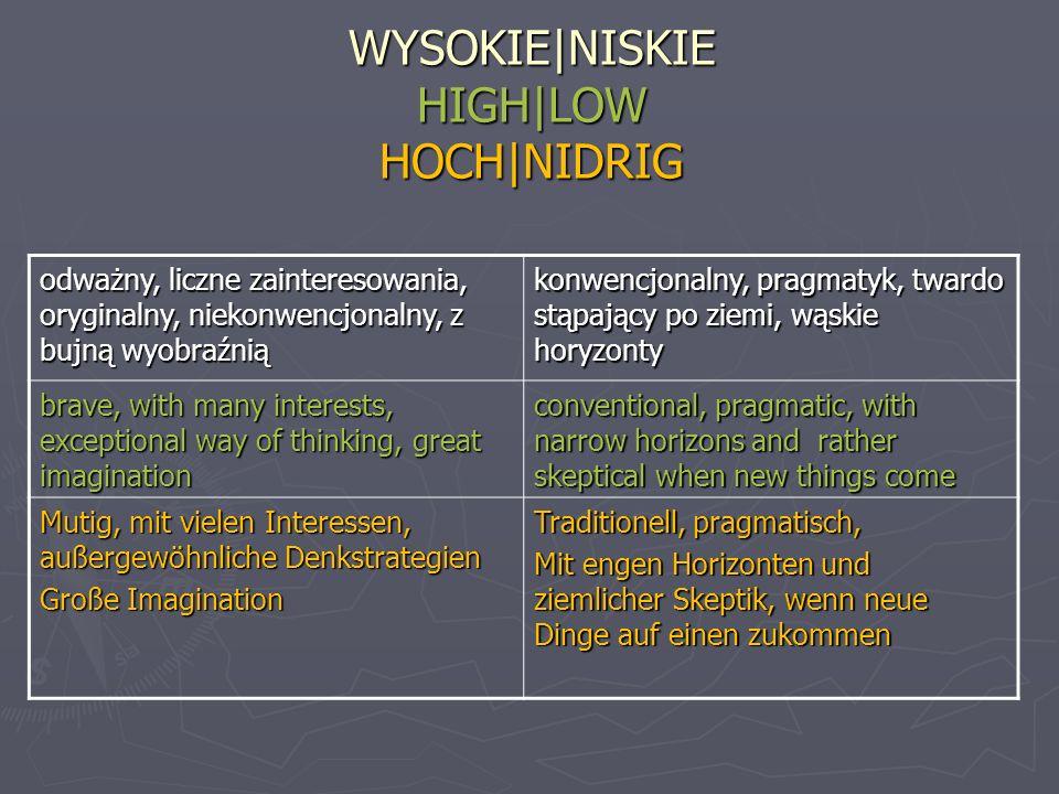 WYSOKIE|NISKIE HIGH|LOW HOCH|NIDRIG odważny, liczne zainteresowania, oryginalny, niekonwencjonalny, z bujną wyobraźnią konwencjonalny, pragmatyk, twar