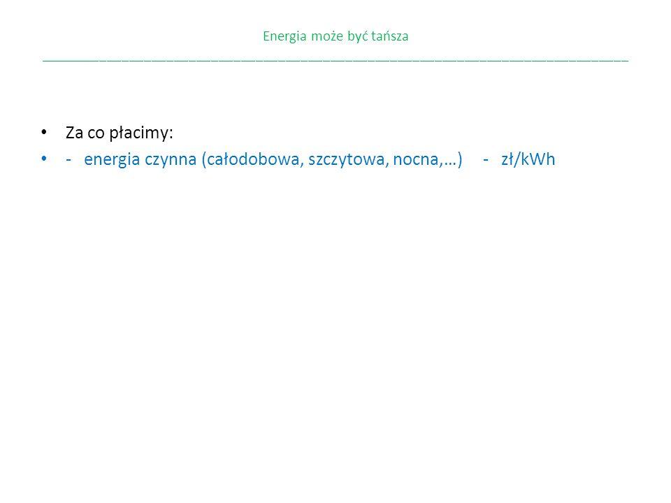 Energia może być tańsza _______________________________________________________________________________ Grupy taryfowe B11, B21, B22, B23 C11, C12a, C12b, C12w C21, C22a, C22b,C23 G11, G12, G12w Różnią się: - cyklem rozliczeń (co 1, 2, 6 miesięcy) - strefami w ciągu doby (cała doba, dzień i noc, szczyt i poza szczytem) - wysokością stawek i opłata w każdej strefie i cyklu.
