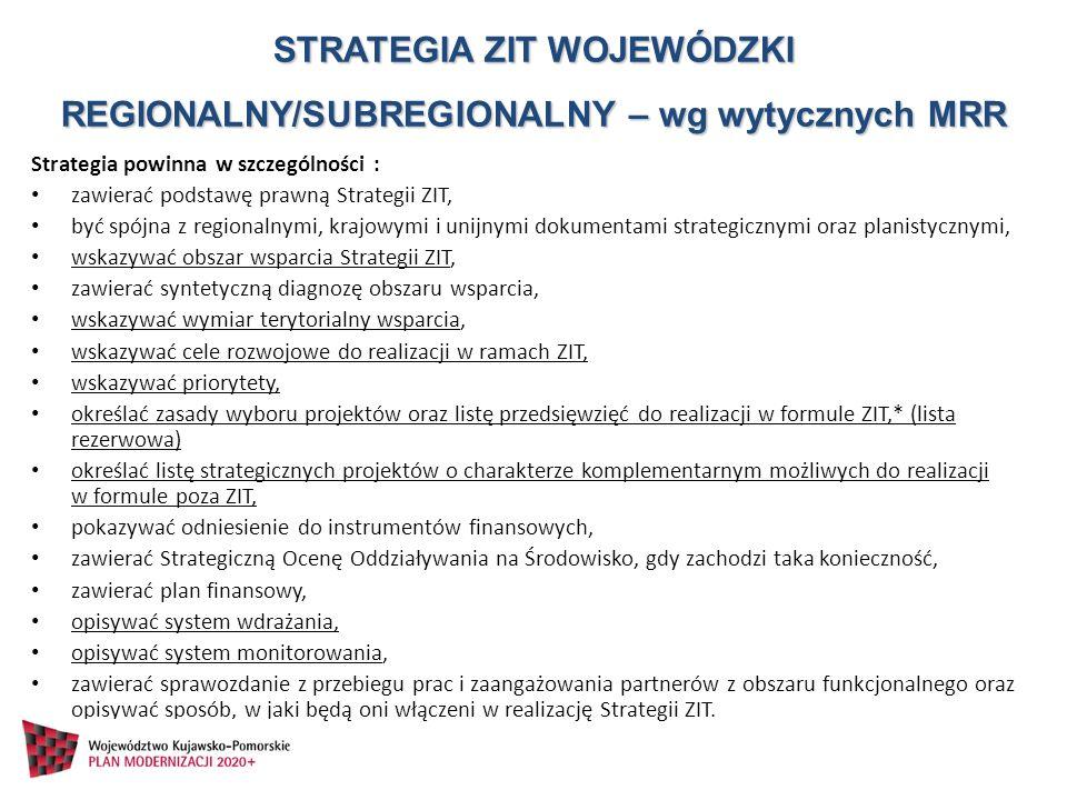 Strategia powinna w szczególności : zawierać podstawę prawną Strategii ZIT, być spójna z regionalnymi, krajowymi i unijnymi dokumentami strategicznymi