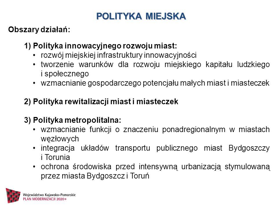 POLITYKA MIEJSKA Obszary działań: 1) Polityka innowacyjnego rozwoju miast: rozwój miejskiej infrastruktury innowacyjności tworzenie warunków dla rozwo