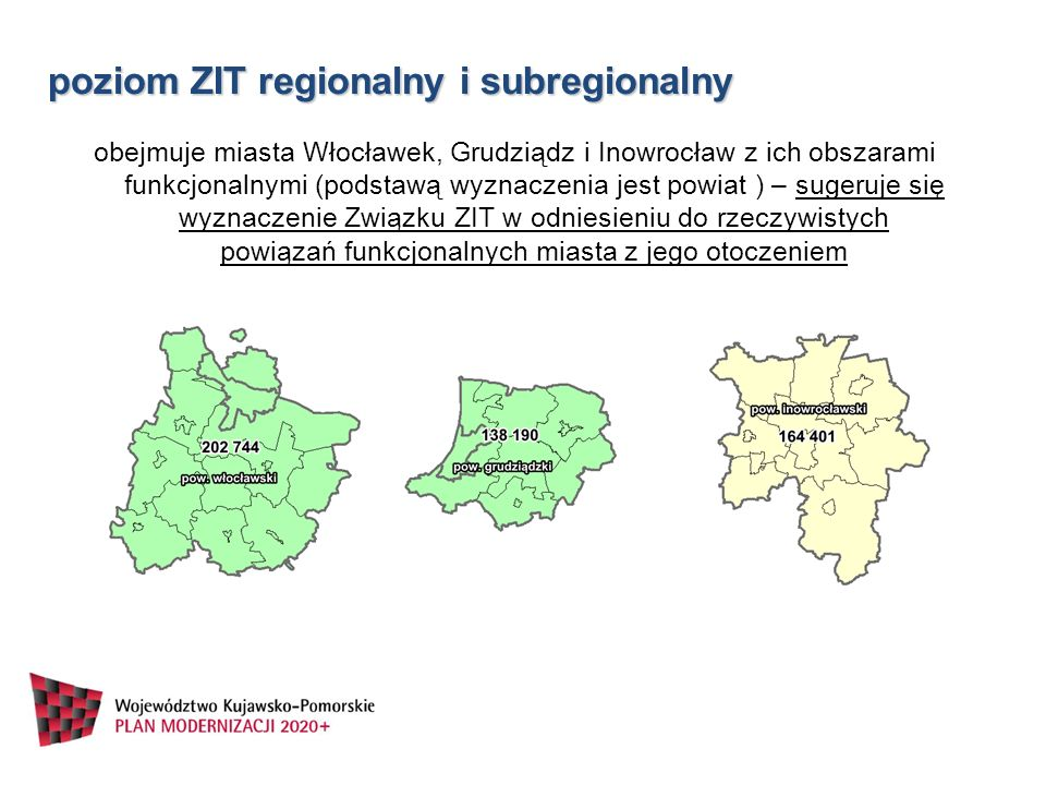 poziom ZIT regionalny i subregionalny obejmuje miasta Włocławek, Grudziądz i Inowrocław z ich obszarami funkcjonalnymi (podstawą wyznaczenia jest powi